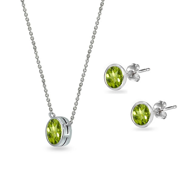 Sterling Silver Peridot 5mm Round Bezel-Set Solitaire Small Dainty Choker Necklace and Stud Earrings Set