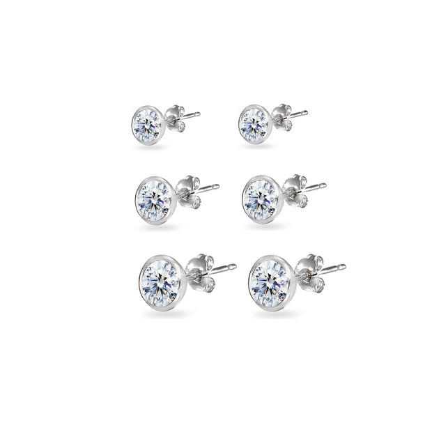 3-Pair Sterling Silver Cubic Zirconia Bezel Solitiarie Round Stud Earrings Set Made with Swarovski Zirconia, 4mm 5mm 6mm