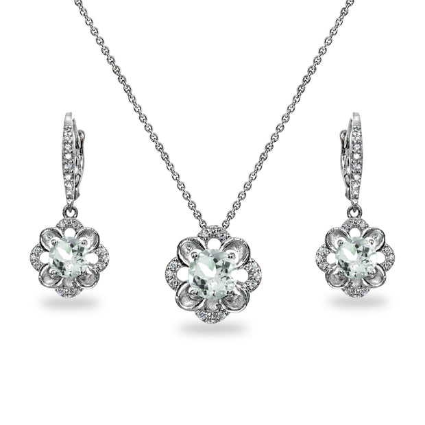Sterling Silver Light Aquamarine 6mm Round-Cut Flower Dainty Slide Necklace & Leverback Earrings Set