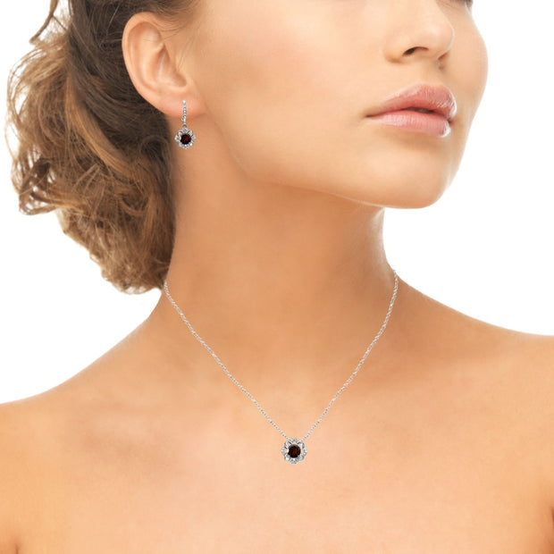 Sterling Silver Garnet 6mm Round-Cut Flower Dainty Slide Necklace & Leverback Earrings Set