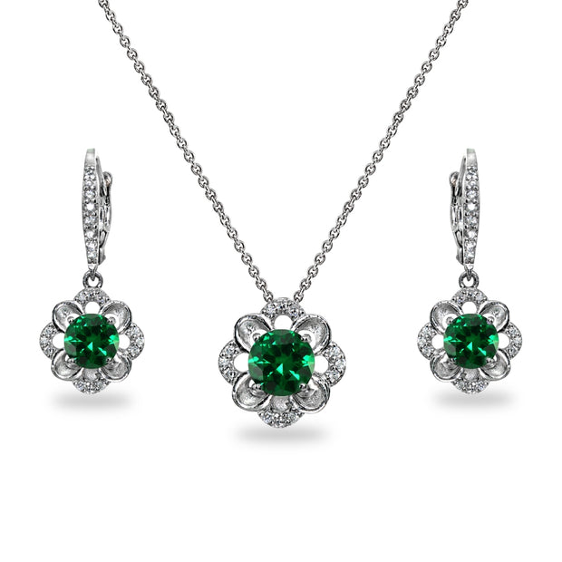 Sterling Silver Simulated Emerald 6mm Round-Cut Flower Dainty Slide Necklace & Leverback Earrings Set