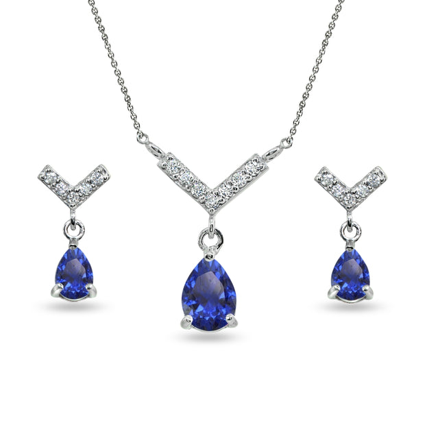 Sterling Silver Created Blue Sapphire Teardrop V Design Arrow Necklace & Dangle Earrings Set