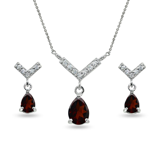 Sterling Silver Garnet Teardrop V Design Arrow Necklace & Dangle Earrings Set
