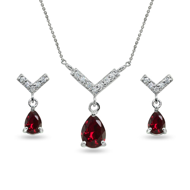 Sterling Silver Created Ruby Teardrop V Design Arrow Necklace & Dangle Earrings Set