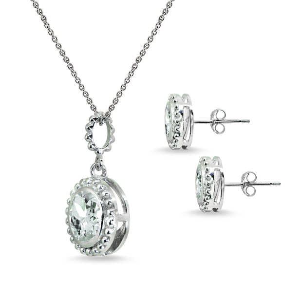 Sterling Silver Light Aquamarine Round-Cut Bead Halo Bezel-Set Pendant Necklace & Stud Earrings Set