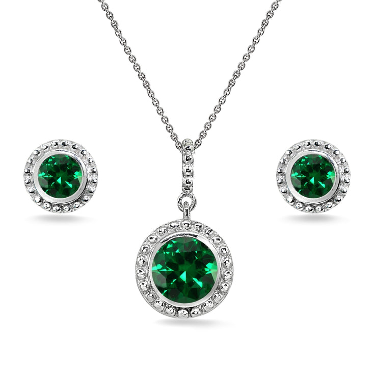 Sterling Silver Simulated Emerald Round-Cut Bead Halo Bezel-Set Pendant Necklace & Stud Earrings Set