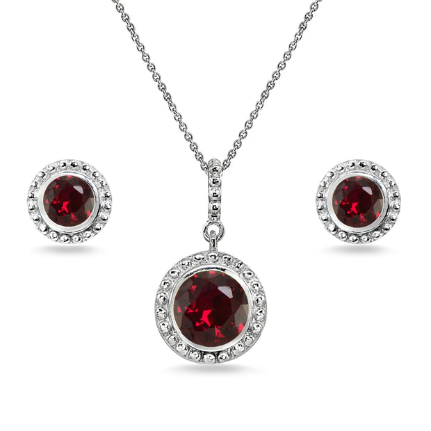 Sterling Silver Created Ruby Round-Cut Bead Halo Bezel-Set Pendant Necklace & Stud Earrings Set