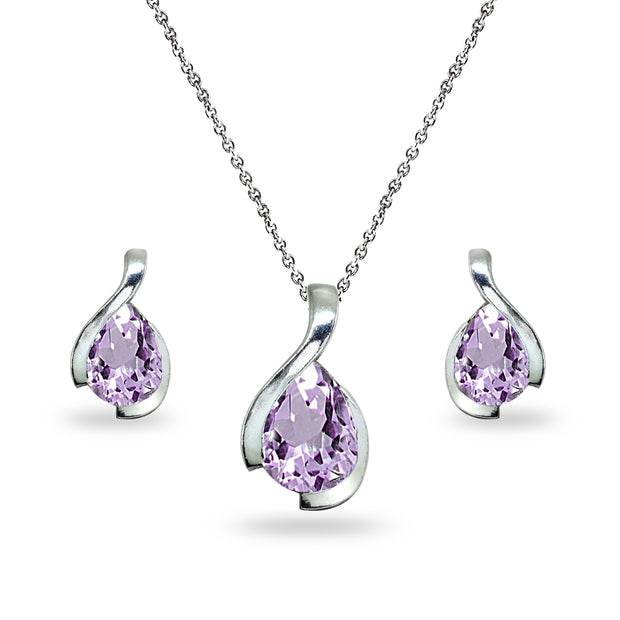 Sterling Silver Amethyst Pear-Cut Solitaire Teardrop Design Pendant Necklace & Stud Earrings Set