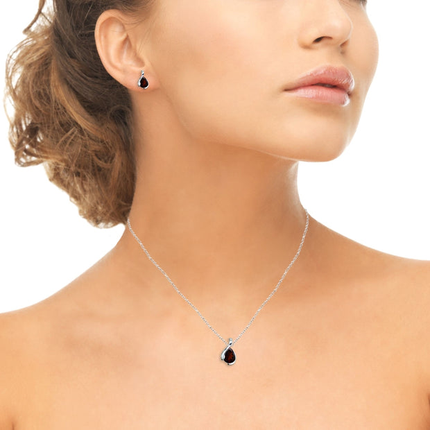 Sterling Silver Garnet Pear-Cut Solitaire Teardrop Design Pendant Necklace & Stud Earrings Set