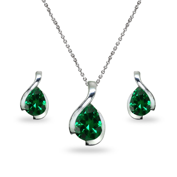 Sterling Silver Simulated Emerald Pear-Cut Solitaire Teardrop Design Pendant Necklace & Stud Earrings Set