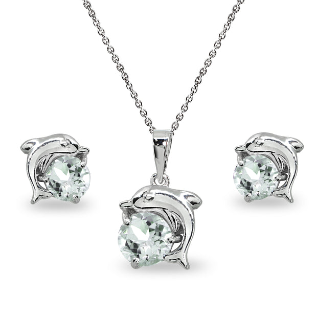 Sterling Silver Light Aquamarine Round-Cut Dolphin Animal Dainty Pendant Necklace & Stud Earrings Set