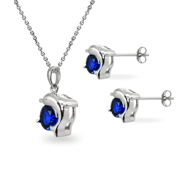 Sterling Silver Created Blue Sapphire Round-Cut Dolphin Animal Dainty Pendant Necklace & Stud Earrings Set