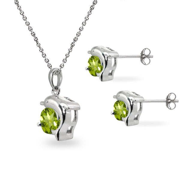 Sterling Silver Peridot Round-Cut Dolphin Animal Dainty Pendant Necklace & Stud Earrings Set