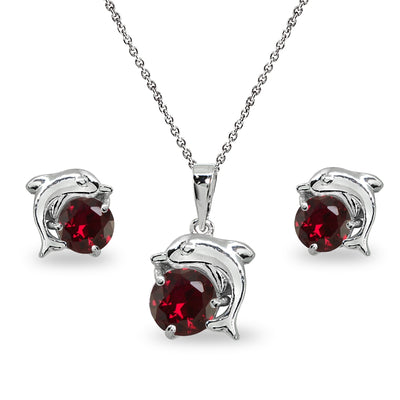 Sterling Silver Created Ruby Round-Cut Dolphin Animal Dainty Pendant Necklace & Stud Earrings Set