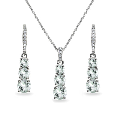 Sterling Silver Light Aquamarine 3-Stone Journey Pendant Necklace & Dangle Leverback Earrings Set