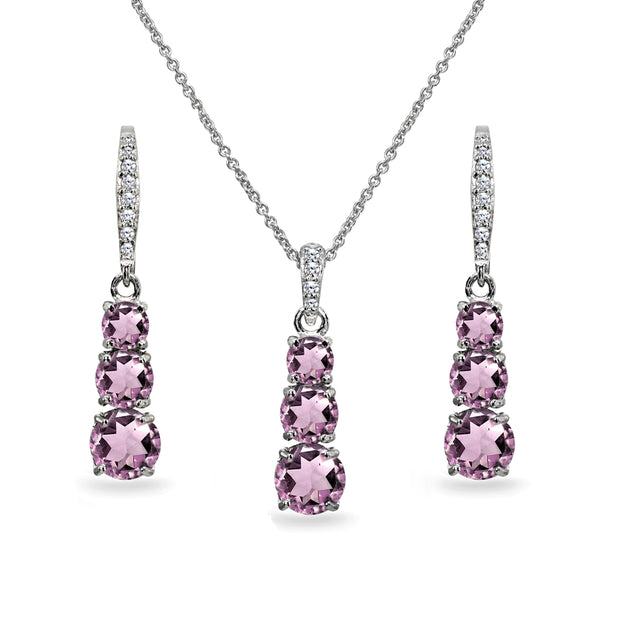 Sterling Silver Created Alexandrite 3-Stone Journey Pendant Necklace & Dangle Leverback Earrings Set