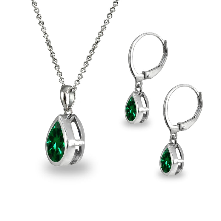 Sterling Silver Simulated Emerald Teardrop Bezel-Set Pendant Necklace & Dangle Leverback Earrings Set