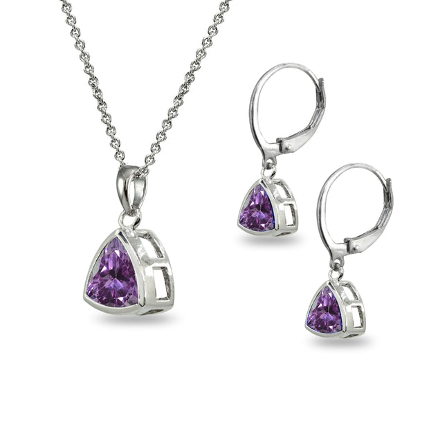 Sterling Silver Simulated Alexandrite Trillion Bezel-Set Necklace & Dangle Leverback Earrings Set