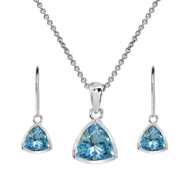 Sterling Silver Created Aquamarine Trillion Bezel-Set Necklace & Dangle Leverback Earrings Set