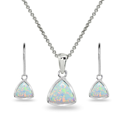 Sterling Silver Simulated White Opal Trillion Bezel-Set Pendant Necklace & Dangle Leverback Earrings Set