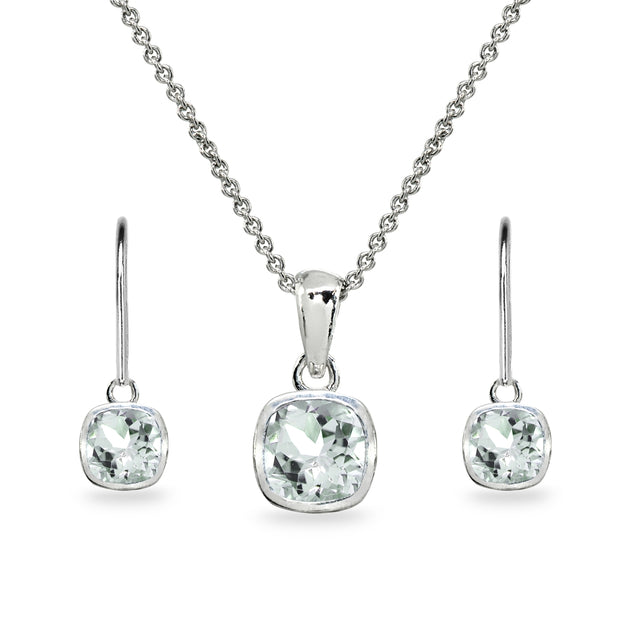 Sterling Silver Aquamarine Cushion-Cut Bezel-Set Necklace & Dangle Leverback Earrings Set