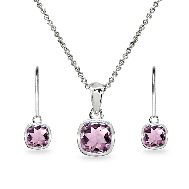 Sterling Silver Created Alexandrite Cushion-Cut Bezel-Set Necklace & Dangle Leverback Earrings Set
