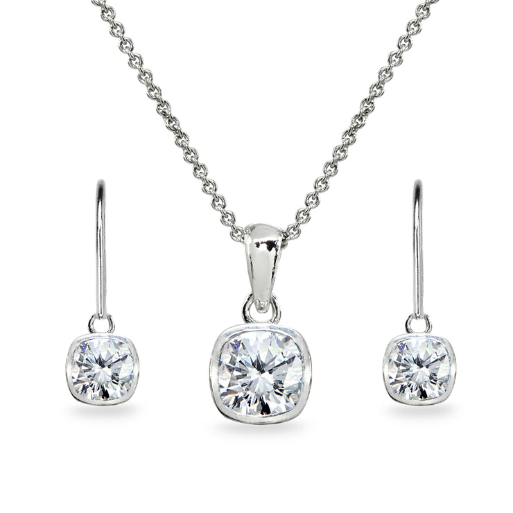 Sterling Silver Cubic Zirconia Cushion-Cut Bezel-Set Pendant Necklace & Dangle Leverback Earrings Set