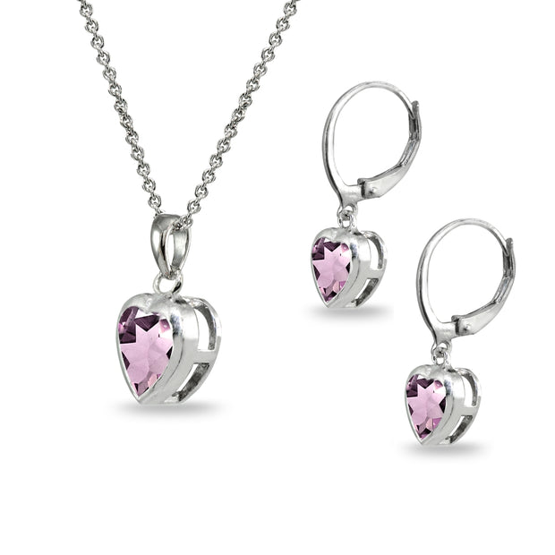 Sterling Silver Simulated Alexandrite Heart Bezel-Set Necklace & Dangle Leverback Earrings Set