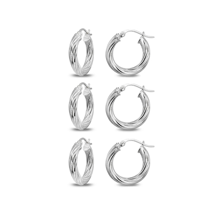 3-Pair Sterling Silver Polished 3x15mm Twist Round Click-Top Small Hoop Earrings Set