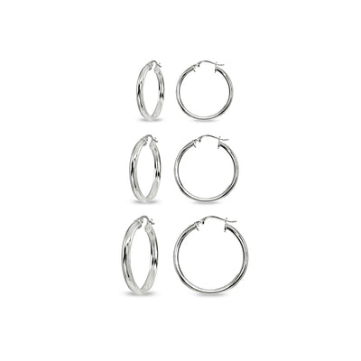 3-Pair Sterling Silver Polished 3mm Half Round Click-Top Small Hoop Earrings Set, 15mm, 20mm or 25mm