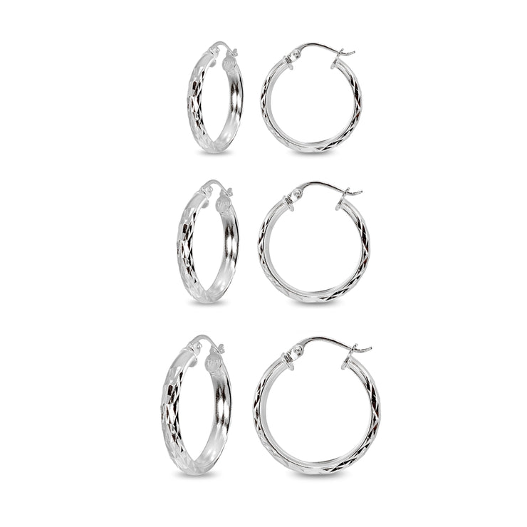 3-Pair Sterling Silver 3mm Diamond-Cut Round Click-Top Small Hoop Earrings Set, 15mm, 20mm or 25mm