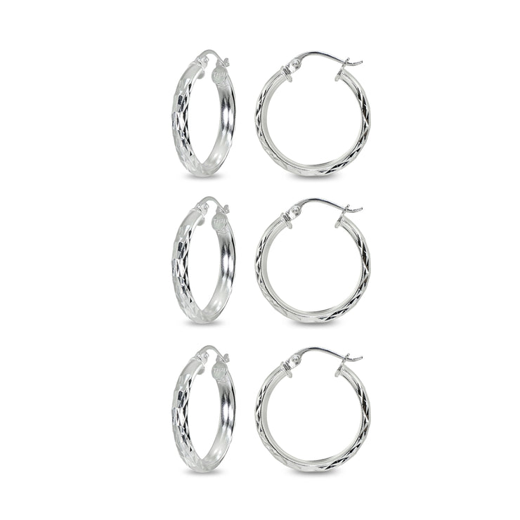 3-Pair Sterling Silver 3x15mm Diamond-Cut Round Click-Top Small Hoop Earrings Set