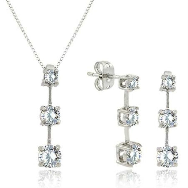 Past Present Future Created Diamond CZ Pendant/Earring Silver Jewelry set - Perfect Bridesmaid Gift !