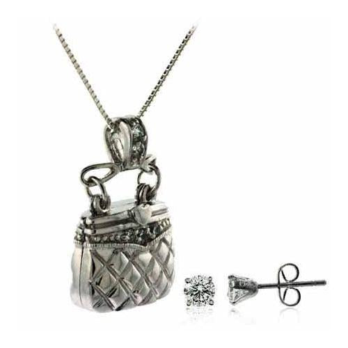 Sterling Silver CZ Purse Pendant Locket & Stud Earrings Set