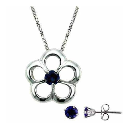 Sterling Silver Tanzanite CZ Flower Necklace & Stud Earrings Set