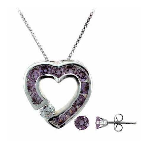 Sterling Silver Amethyst CZ Heart Pendant and Stud Earrings Set