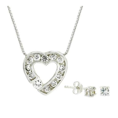 Sterling Silver CZ Heart Pendant and Stud Earrings Set