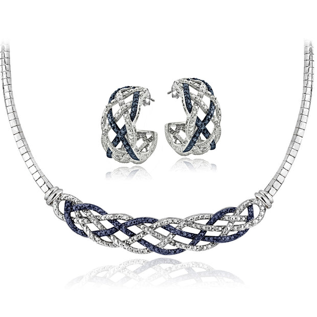 1/2 ct tdw Blue & White Diamond Weave Omega Necklace and Earrings Set
