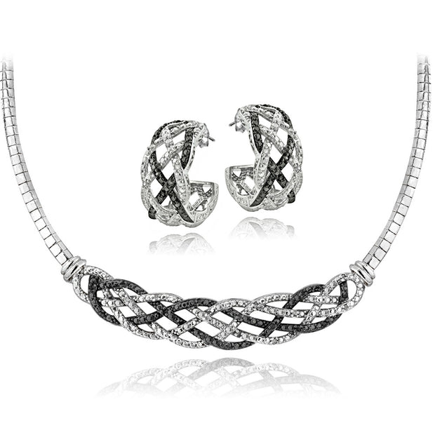 1/2 ct tdw Black & White Diamond Weave Omega Necklace and Earrings Set