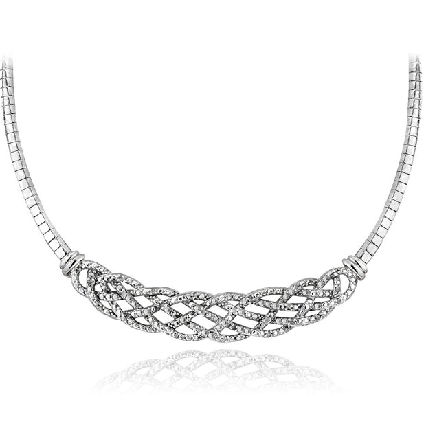 1/2 Carat tdw Diamond Weave Omega Necklace & Earrings Set