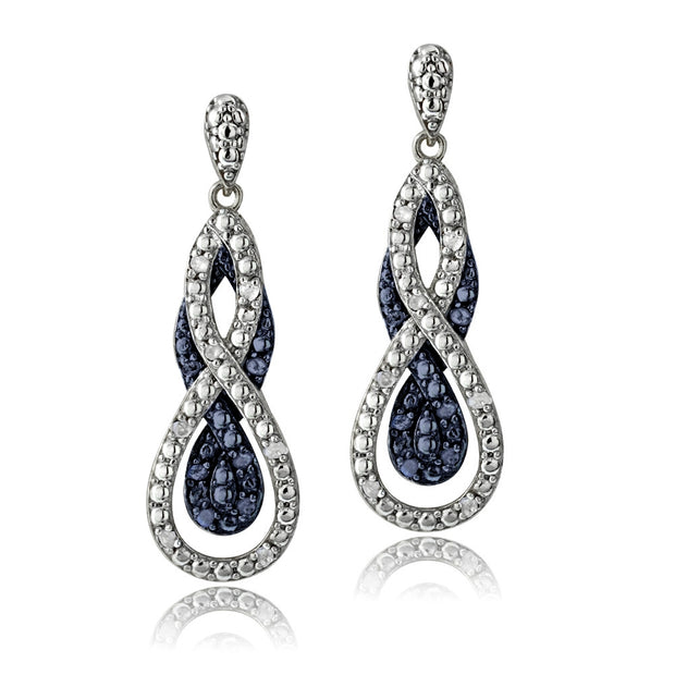 1/2 ct tdw Blue & White Diamond Intertwining Infinity Omega Necklace and Earrings Set