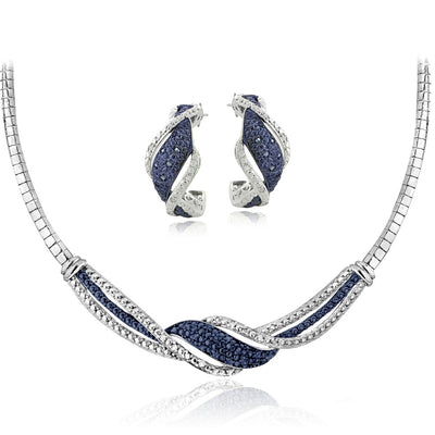 1/2 Carat tdw Blue & White Diamond Twist Omega Necklace and Earrings Set