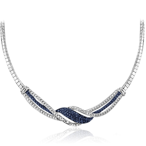 1/2 ct tdw Blue & White Diamond Twist Omega Necklace and Earrings Set