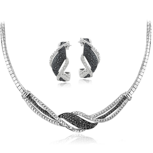 1/2 ct tdw Black & White Diamond Twist Omega Necklace and Earrings Set