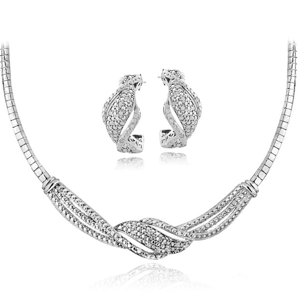1/2 ct tdw Diamond Twist Omega Necklace & Earrings Set