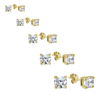 Yellow Gold Flashed Sterling Silver Cubic Zirconia Set of 5 Round Stud Earrings