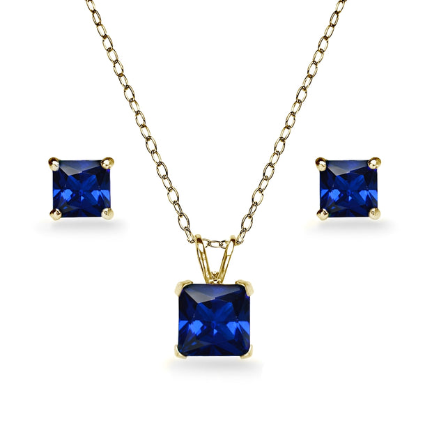 Yellow Gold Flashed Sterling Silver Created Blue Sapphire Square Solitaire Necklace and Stud Earrings Set