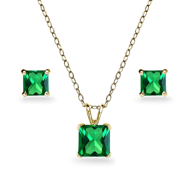 Yellow Gold Flashed Sterling Silver Simulated Emerald Square Solitaire Necklace and Stud Earrings Set