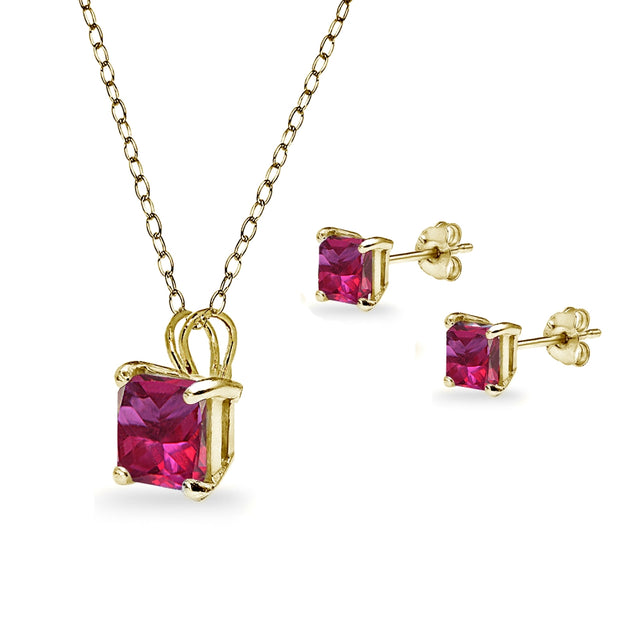 Yellow Gold Flashed Sterling Silver Created Ruby Square Solitaire Necklace and Stud Earrings Set