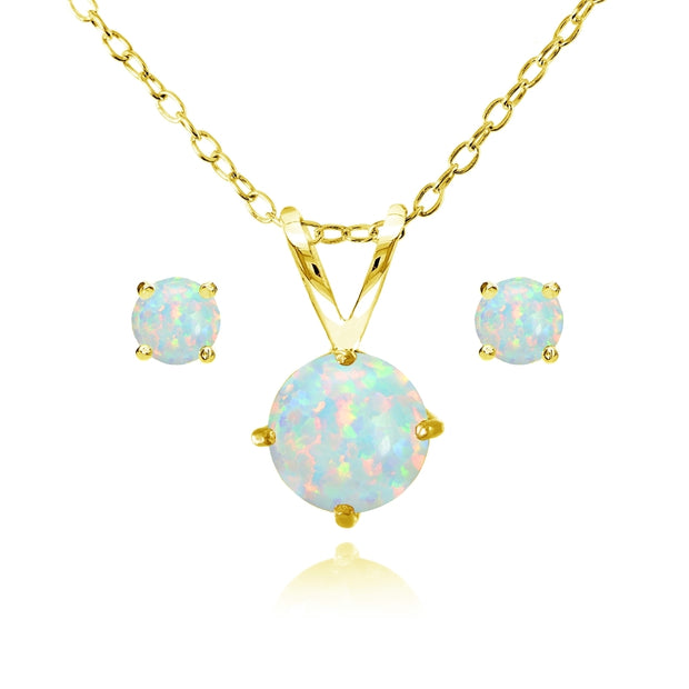 Yellow Gold Flashed Sterling Silver Created White Opal Round Solitaire Necklace and Stud Earrings Set